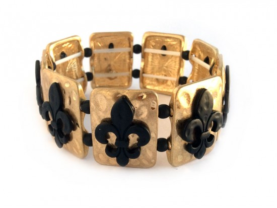 Black Fleur De Lis Matte Gold Rectangle Hammered Bracelet