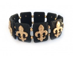 Gold Fleur De Lis Matte Black Rectangle Hammered Bracelet