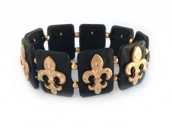 Gold Fleur De Lis Matte Black Rectangle Hammered Bracelet