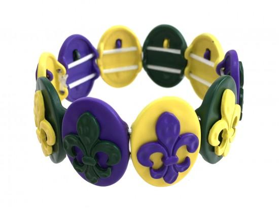 Mardi Gras Fleur De Lis Oval Hammered Bracelet