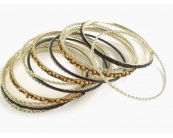 Black Gold Seed Bead Gold Thin Bangle 13 Set