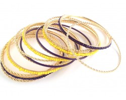 Purple Yellow Seed Bead Gold Thin Bangle 13 Set