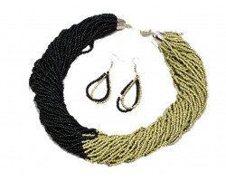 Black Gold Seed Bead Multi Strand Necklace Set