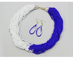 Blue White Seed Bead Multi Strand Necklace Set