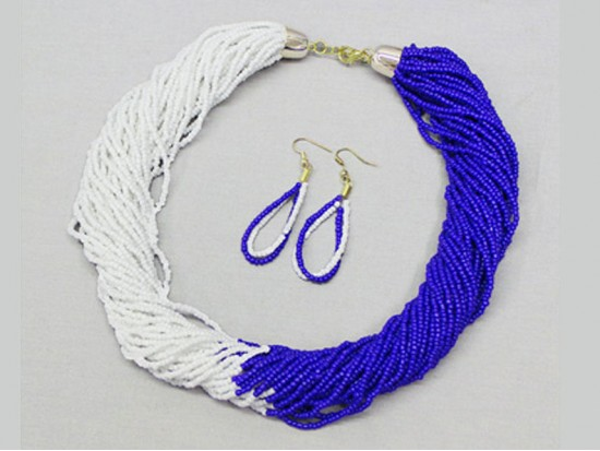 Blue White Seed Bead Multi Strand Necklace Set