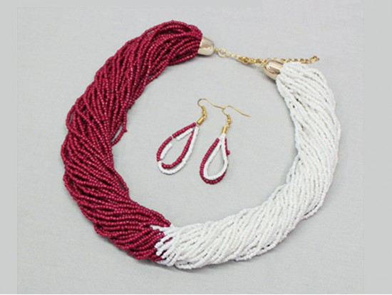 Maroon White Seed Bead Multi Strand Necklace Set