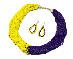 Purple Yellow Seed Bead Multi Strand Necklace Set