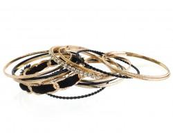 Black Gold Crystal Cord Bangle Bracelet Set 12pc