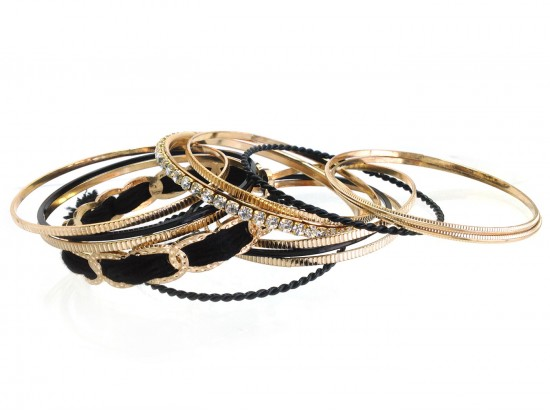 Black Gold Crystal Cord Bangle Bracelet Set 12pc