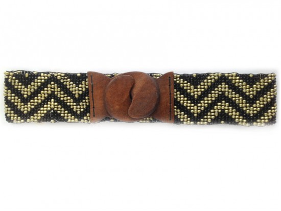 Black Gold Chevron Seed Bead Stretch Belt