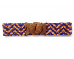 Orange Blue Chevron Seed Bead Stretch Belt