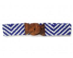 Blue White Chevron Seed Bead Stretch Belt