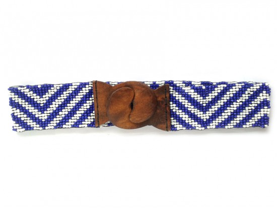 Blue White Chevron Seed Bead Stretch Belt