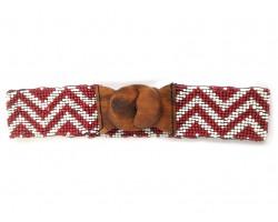 Maroon White Chevron Seed Bead Stretch Belt