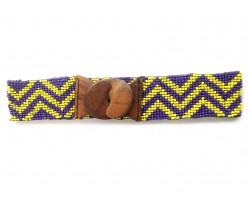 Purple Yellow Chevron Seed Bead Stretch Belt