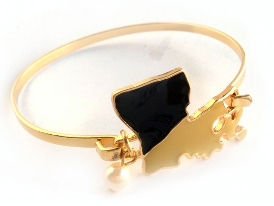 Black Gold Louisiana State Map Pearl Cuff Bracelet