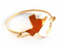 Orange White Texas State Map Pearl Cuff Bracelet