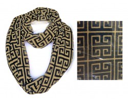 Black Gold Greek Key Heavy Jersey Knit Scarf