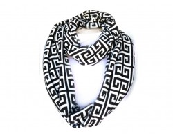 Black White Greek Key Heavy Jersey Knit Scarf
