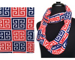 Red White Blue Greek Key Heavy Jersey Knit Scarf