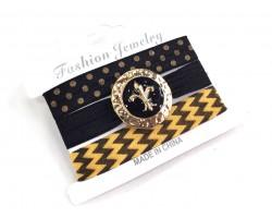 Black Gold Chevron Fleur 'de Lis Hair Tie Bracelet Set