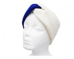Blue White Crochet Knit Wrap Headband