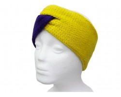 Purple Yellow Crochet Knit Wrap Headband