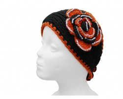 Black Orange Flower Crystal Knit Wrap Headband