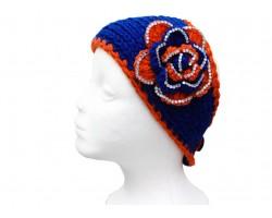 Blue Orange Flower Crystal Knit Wrap Headband