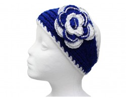 Blue White Flower Crystal Knit Wrap Headband