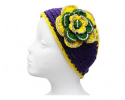 Mardi Gras Flower Crystal Knit Wrap Headband