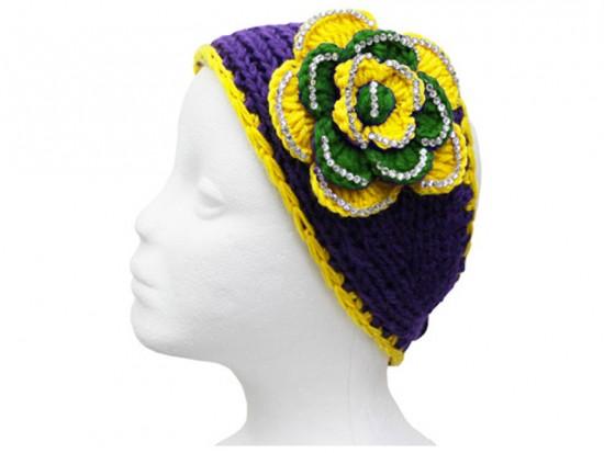 Mardi Gras Flower Crystal Knit Wrap Headband