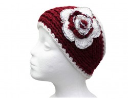 Maroon White Flower Crystal Knit Wrap Headband