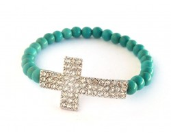 Turquoise Bead Crystal Cross Stretch Bracelet