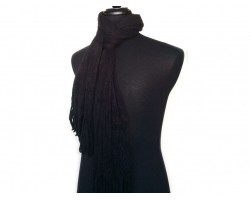 Black Crochet Knit Yarn Fringed Oblong Scarf