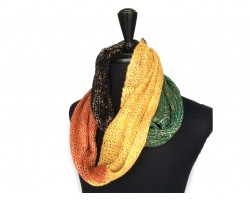 Orange Gold Black Green Yarn Knit Infinity Scarf