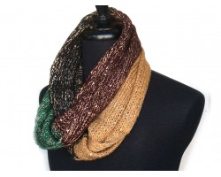Green Gold Black Green Yarn Knit Infinity Scarf