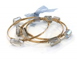 Black Diamond Crystal Stone Wire Wrap Gold Bangle 3pcs