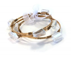Crystal Stone Wire Wrap Gold Bangle 3pcs