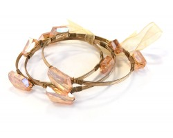 Peach Crystal Stone Wire Wrap Gold Bangle 3pcs