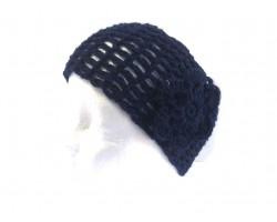 Navy Wide Crochet Headband With Flower