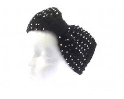 BLACK Knit Bow Headband With Crystals