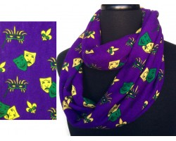 Mardi Gras Faces Yellow Green Purple Heavy Knit Scarf