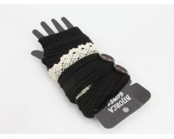 Black Knit Short Hand Warmer Gloves Lace Button
