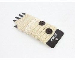 Kaki Knit Short Hand Warmer Gloves Lace Button