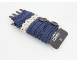 Navy Knit Short Hand Warmer Gloves Lace Button