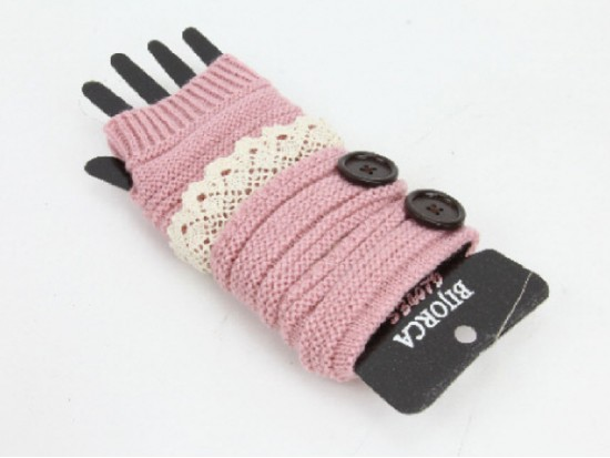 Pink Knit Short Hand Warmer Gloves Lace Button
