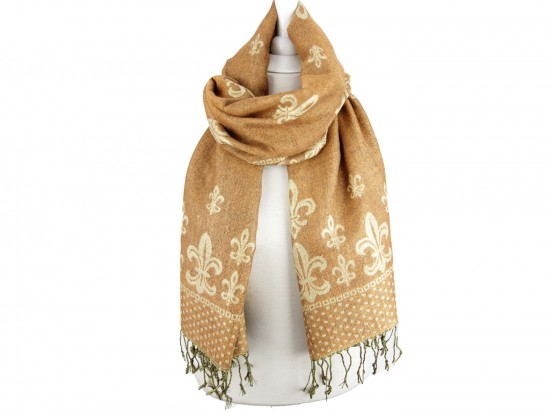 Orange Gold Fleur De Lis Pashmina Oblong Scarf