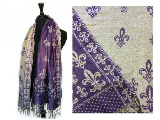 Purple Gold Fleur De Lis Pashmina Oblong Scarf