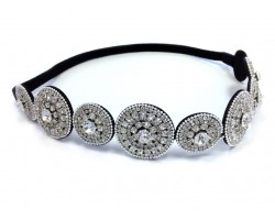 Clear Crystal Alternating Circles Stretch Headband